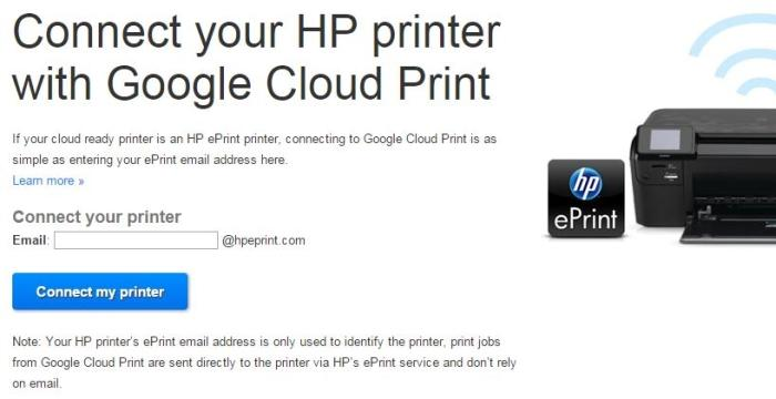 Using the HP eprint account for Google Cloud Print.