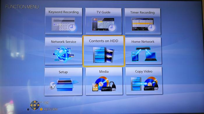 One of at least four different menu systems on Panasonic's PVR.