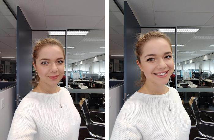 Despite only offering 5-megapixels, the Selfie cam worked well. Beauty Mode (right) added some effective-yet-natural polish.