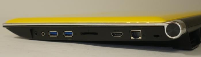 The right has the audio ports, USB 3.0 ports, SD card slot, HDMI, and Ethernet port.
