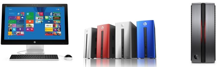 Left to right: HP Pavilion All-in-One, HP Pavilion Tower, HP ENVY Phoenix.