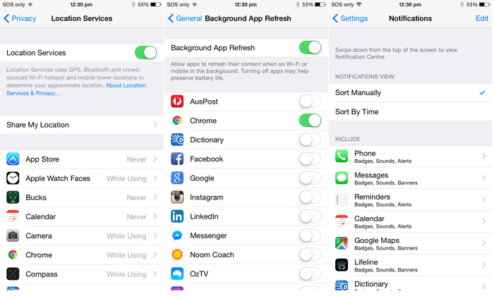All of the location, background app and notification settings for applications can be found in one place in Apple's iOS.