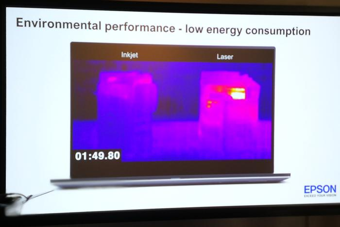 A heat camera shows the difference between a laser printer and Epson's similar-speed inkjet.