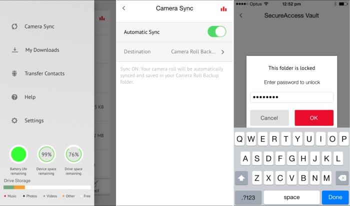 From left to right: iXpand Sync settings and status, backing up camera roll, decrypting a vault.