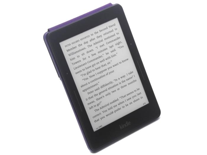 Kindle Voyage Wi-Fi sitting in the Origami Cover accessory.