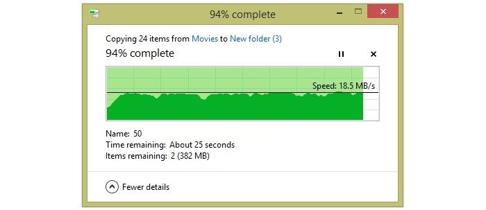 Large file transfer from 15m away.