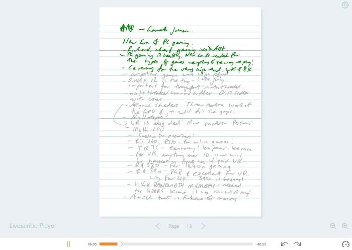 Playing a Pencast through the Livescribe Player on Livescribe's Web site.