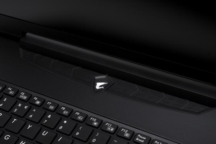 The logo also sits just above the keyboard