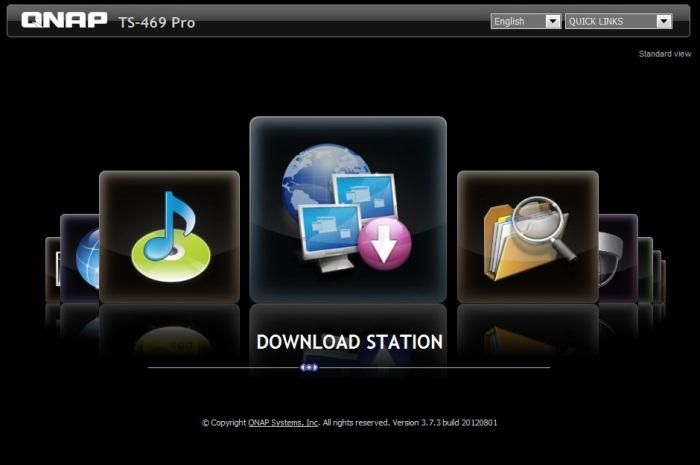 Before entering the main Web interface though, you can also log in to one of the many apps, including the Download Station.