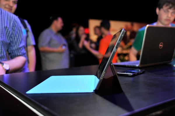 The built-in kickstand allows the Surface RT to stand up on a desk or table, though we weren't able to test how well it works on your lap.