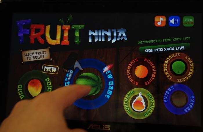 Fruit Ninja works well with the touchscreen, but you have to find a comfortable way to hold or rest the notebook while playing it.