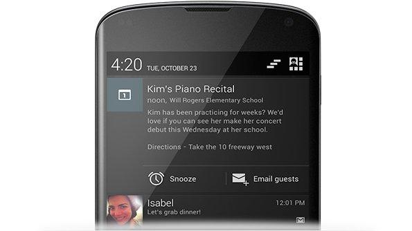A highlight of Android 4.2 includes expandable notifications that can be actioned.