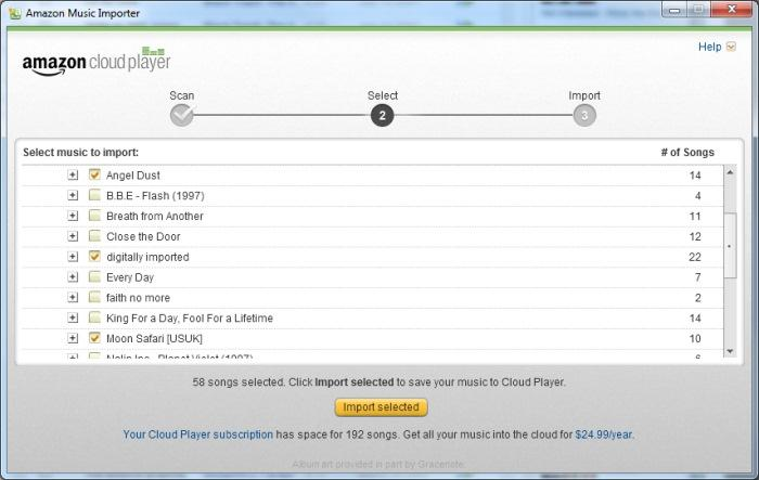 You can import up to 250 of your own songs up to the Cloud Player.