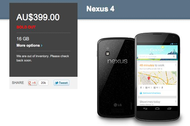 The current Google Play Store listing for the Nexus 4.