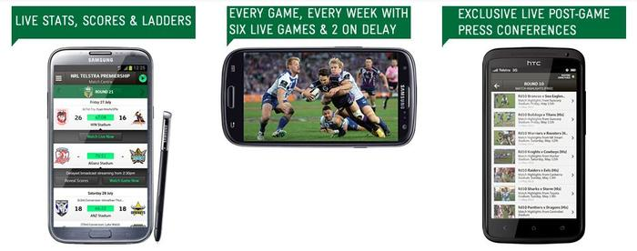Some of the features of the NRL Live 2013 app, as advertised on the Telstra website.