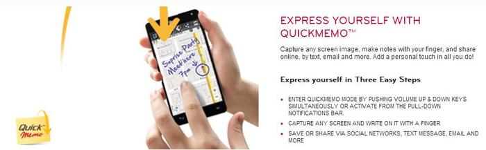 LG's QuickMemo feature on the Optimus G smartphone.