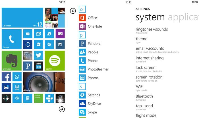 The larger screen allows for more tiles on the Windows Phone home screen.