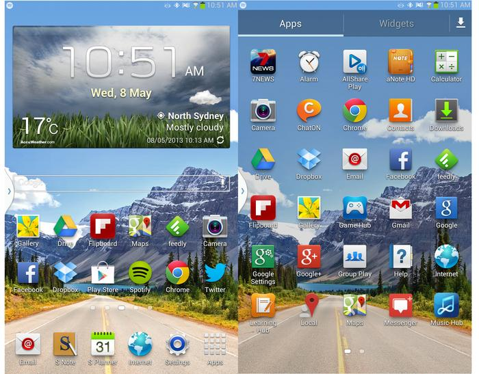 The Samsung Galaxy Note 8.0 home screen (left) and app drawer (right).