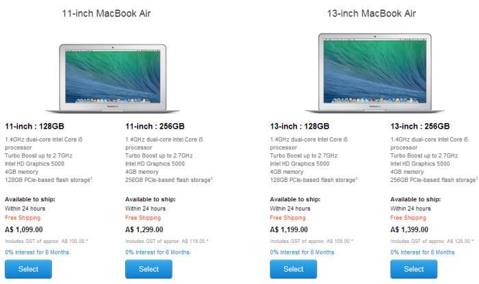 New MacBook Air pricing as of 30 April 2014.