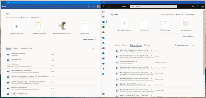 Chances are that your Windows 10 PC already has an Office app (left). The Office PWA (right) looks a little prettier, with new navigation options along the left-hand pane
