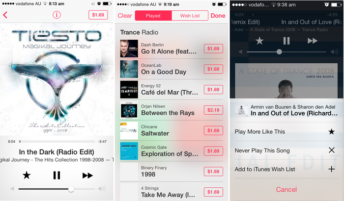Played songs can be purchased directly from the iTunes Radio interface