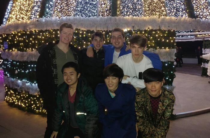 A group photo taken during the Dire Wolves first Korean boot camp