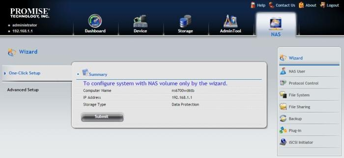 The 'NAS' tab is the place where most of the necessary features are located, such as folder and user creation, as well as backup features.