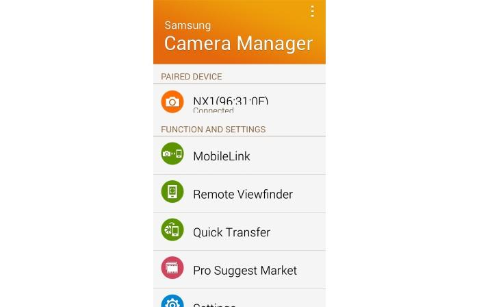 The Samsung Camera Manager app.