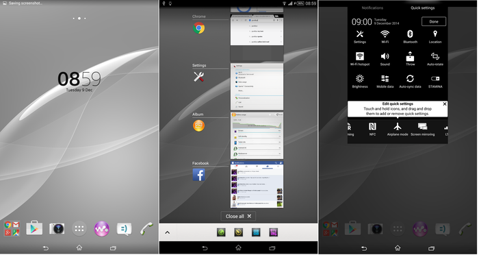 The Xperia Z3 Tablet Compact's interface