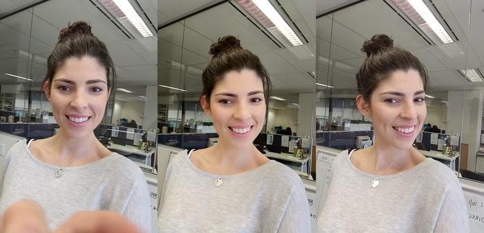 (left) 16MP selfie mode. (middle) With Make-up filter. (right) Ultrapixel, low-light mode.