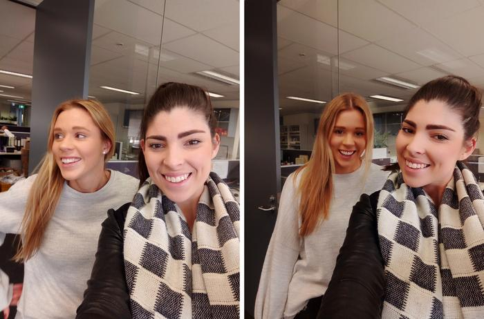The 16-megapixel Selfie camera is very sharp. It also offers some impressive, subtle Beauty Mode enhancements (right).