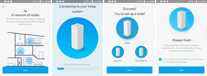 Setting up the three Velop nodes is simple using the app.