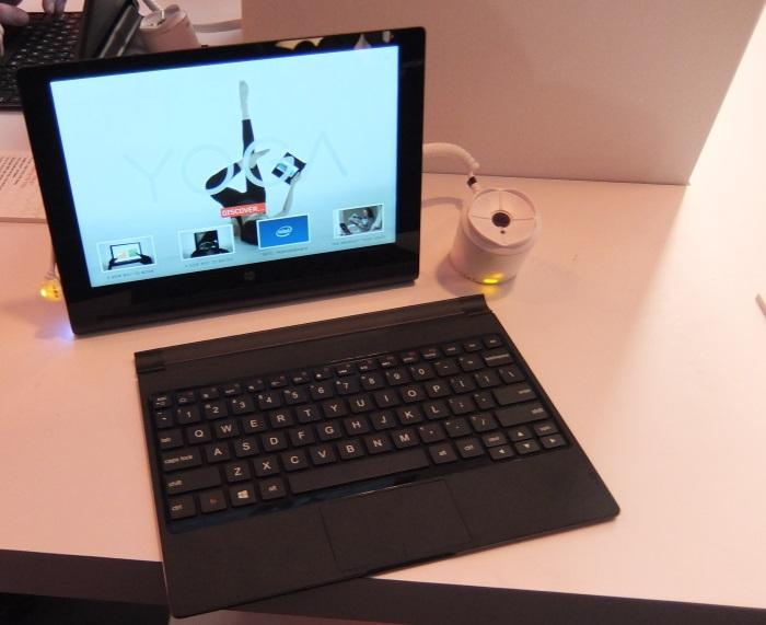 The 10in Yoga Tablet 2 running Windows and an Atom CPU. The keyboard accessory is a must for serious typing, and feels very comfortable to hit.