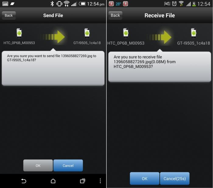 Transfers between smartphones and tablets are easy when you use the Turbo Transfer feature in the Genie app.
