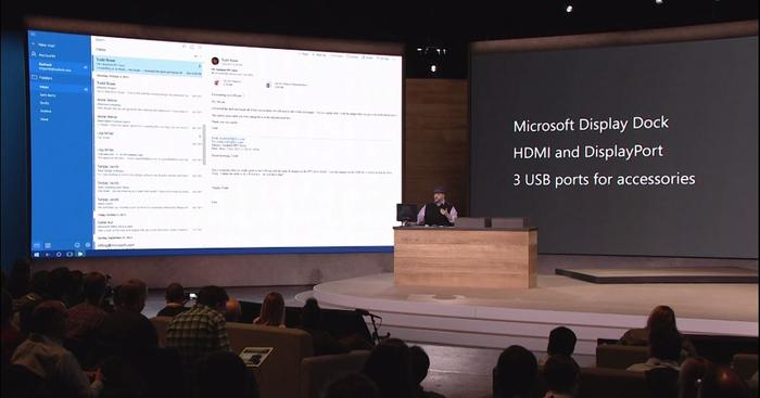 Continuum: Outlook powered by a phone being presented on a monitor