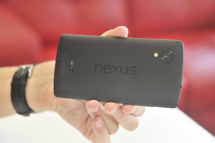 The Nexus 5 uses a soft, almost rubber-like finish on the back.