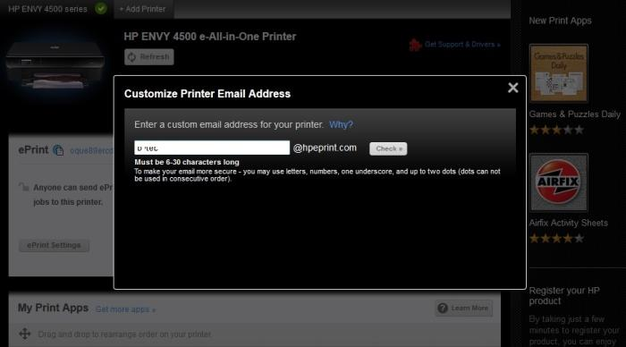 You can customise the email address that is used for the printer.
