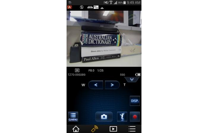 Using an Android smartphone to control the camera via Wi-Fi.