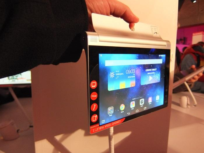 The 8in Yoga Tablet 2 in 'hang' mode.