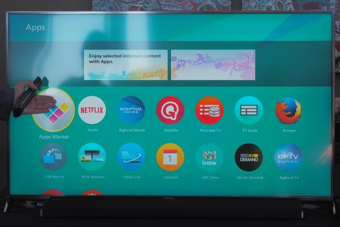Firefox OS organises the smart TV's different features in decks. This is the Apps deck.
