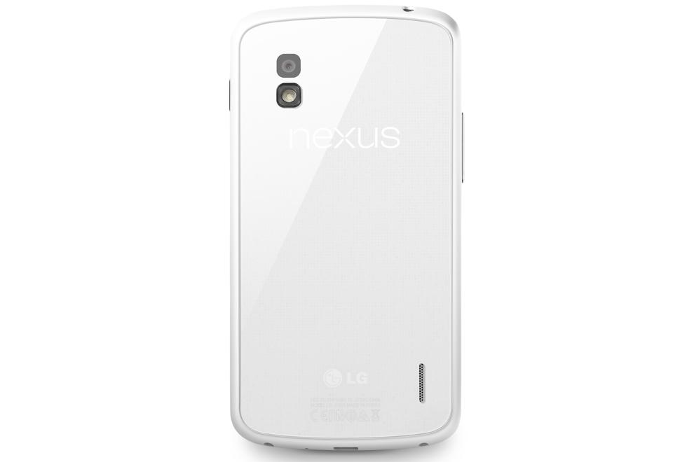 The back of the white Nexus 4.