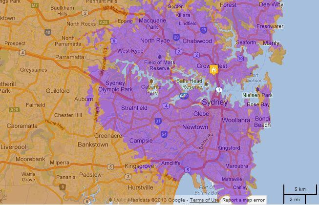 The above map shows Virgin's 4G coverage in Sydney, denoted in purple.