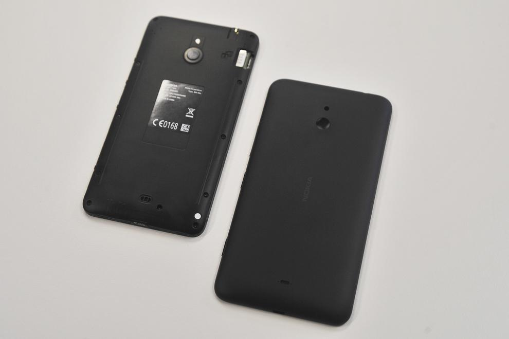 Take the case off for access to the Lumia 1320's microSD and microSIM slots