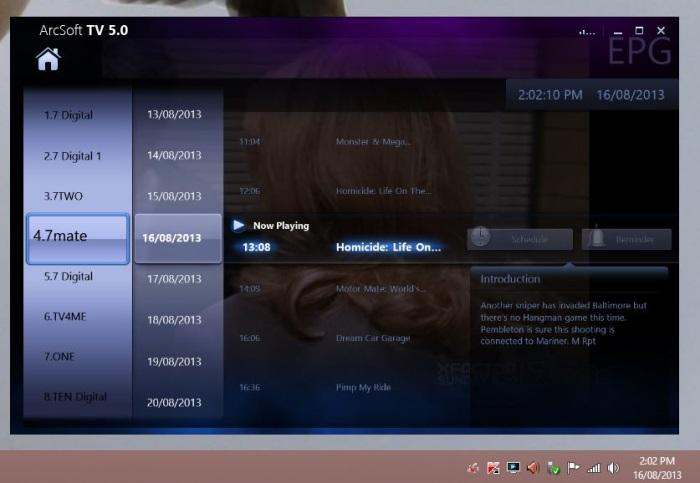 The built-in EPG has an interesting interface in which you browse programs by manipulating the 'sliders' for channels, date, and time.