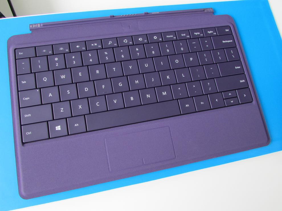 We tested the Pro 2 with the purple Type Cover 2 keyboard (NZ$200/AU$150). In a particularly nice touch, Windows 8.1 automatically set the Surface's colour theme to match.