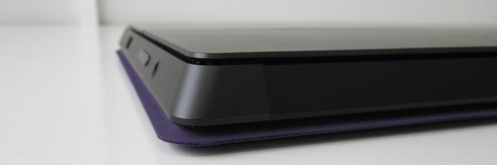 The Pro 2 and Type Cover keyboard together are roughly 19-20mm thick.