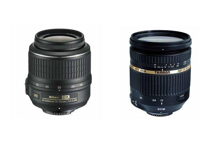 The Nikkor DX 18-55mm is on the left, the Tamron SP Di II 17-50mm lens is on the right. The difference in build quality is immediately noticeable.