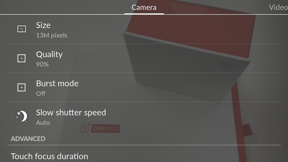 CyanogenMod deserves commendation for the One's fantastic camera interface. The transparent interface offers detailed settings in an easy-to-navigate menu setup