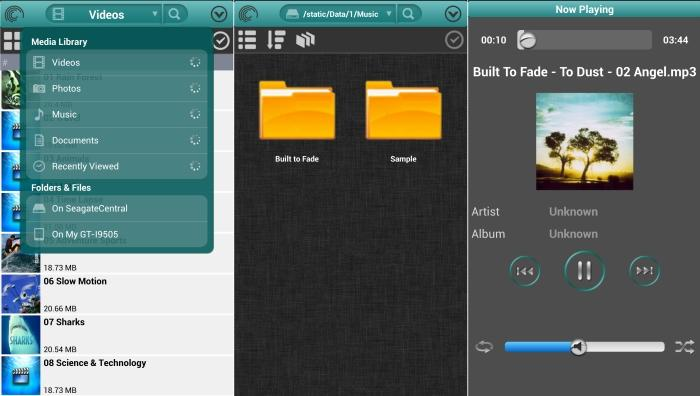 The Seagate Media app in action. From left to right, we've selected the Seagate Central, then viewed its folders, and finally selected music to play (which played back through the app's own player).