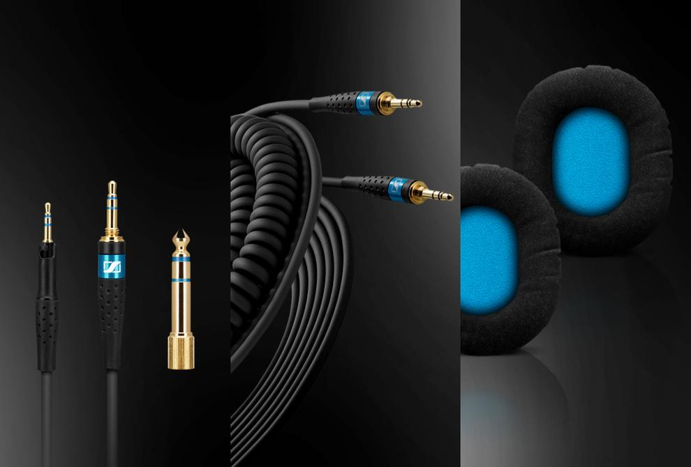 The DJ headphones come with a 3.5mm straight jack, a 6.3mm converter, two kevlar-coated cables and 2 pairs of earpads, one leatherette and another soft velours